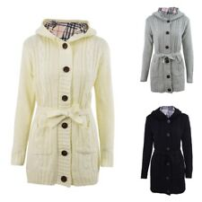Women Hooded Cardigan Single Breasted Knitting Sweater Long Casual Coat Outwear