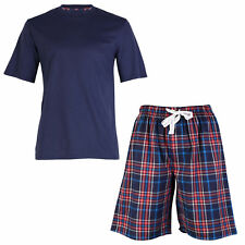 OCTAVE® Mens Jersey T-Shirt & Checked Woven Shorts Summer Pyjama Lounge Set