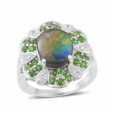 Canadian Ammolite, Russian Diopside, White Topaz Sterling Silver Ring