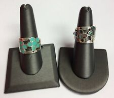 REAL STERLING SILVER Turquoise & Abalone Flower Design Band RING