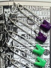 RETRO FASHION VINTAGE 80S SILVER COLOUR XL SAFETY PIN CHARM PUNK GOTH EMO EARRIN