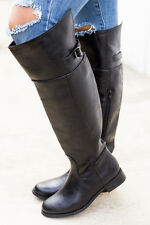 Women's Black Faux Leather Knee High Riding Boots