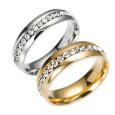 CZ Couple 316L Stainless Steel Wedding Gold Ring Titanium Band Valentine's Day