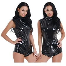 Sexy Womens Lingerie One-piece Patent Leather Thong Leotard Bodysuit Clubwear