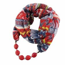 Charms Printed Silk Scarf Oval Resin Beads Pendant Scarf Ethnic Jewelry Scarves