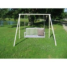 Hanging Wood Porch Swing w/ Stand Outdoor Home Furniture Poolside Patio Deck