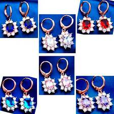Earrings Dangle Lovely CZ White+Purple/Blue/Pink/Red Color Gems RGP Your Choice
