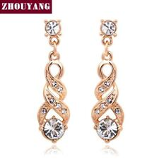 Woman Water Drop Stud Earrings Rose Gold & Silver Color ANGELS EMBRACE Jewelry