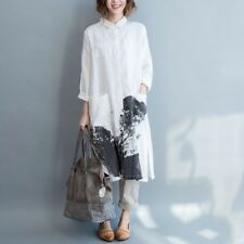 Casual Korean Fashion Shirt Dress Long Sleeve Linen Cotton Vintage Summer Linen