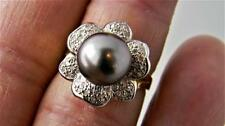 Luxurious !!! 14K Yellow Gold Ring w 10mm Tahitian Pearl & Diamonds, sz 7