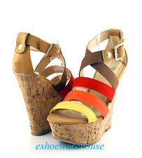 Red Multi Sexy Cork Wrapped Espadrilles Wedges Strappy Sandals Closed Back