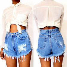 Women Casual High Waisted Ripped Shorts Jeans Denim Ladies Summer Short Pants