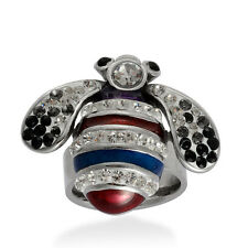 Black & White Austrian Crystal, Enamel BUMBLE BEE RING in 316L Stainless Steel