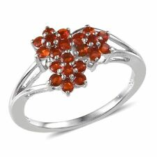 Jalisco Mexican Cherry FIRE OPAL Flower RING in Plat / Sterling Silver .50 Cts.