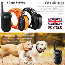 Electric Shock Training E-Collar Rechargeable LCD Remote Control 2 Dog Anti-Bark