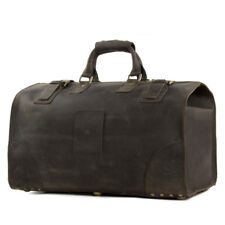 Mens Genuine Leather Travel Bag Large Vintage Brown Handbag Weekender Duffle Bag