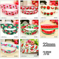 "5 10 Yds 7/8"" 22mm Grosgrain Ribbon Printed Watermelon DIY Craft Home Decoration"