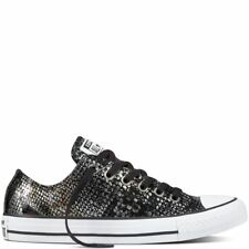 CONVERSE CTAS OX 557981C SNAKE SKIN BLK/BLK/WHT LEATHER TRAINERS WOMENS UK 3-7
