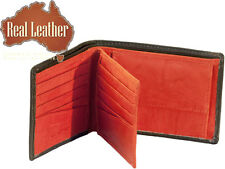 NEW Mens Bifold natural Real Leather wallet 10 Card slots coin purse ID window