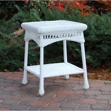 Outdoor White Wicker Side End Table Square  w Shelf  Yard Garden Patio Furniture