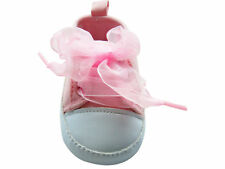 MABINI® Baby Girls Pink & White Canvas Style Ribbon Lace Up Shoes Booties