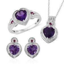 Uruguayan Amethyst, Ruby Platinum Over Sterling Silver Heart Earrings, Ring (Siz
