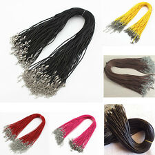 5/10/50/100 Lots Pcs Cord Necklace Lobster Clasp Braid Rope Round PU Leather