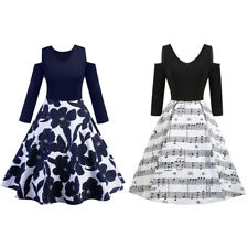 Womens Retro 3/4 Sleeve Vintage Flare Bow A-line Slim Evening Party Swing Dress