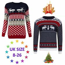 New Ladies Womens REINDEER Christmas Jumper Tops Vintage Sweater Retro Pullover