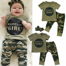 Newborn Toddler Baby Boys Girls Letter Tops Camouflage Pants Outfits Set Clothes