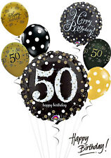 Jumbo Black and Gold 50th Birthday Balloon Bouquet Adult Party Decorations