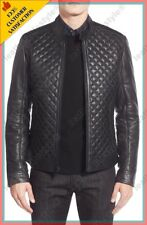 New Men Genuine Lambskin Leather Jacket Black Slim fit Quilted Motorcycle jacket