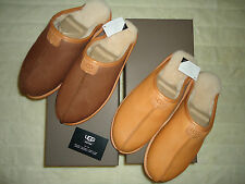 UGG MENS 10 CHOCOLATE OR CHESTNUT LEATHER/ SHEEPSKIN THAYNE SLIPPERS NIB GIFT!