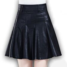 New Black High Waisted Pleated Pu Skirts For Women Leather Skater Skirts