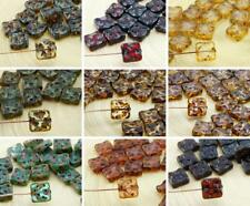 8pcs Picasso Window Table Cut Flat Carved Square Marine Czech Glass Beads 10mm
