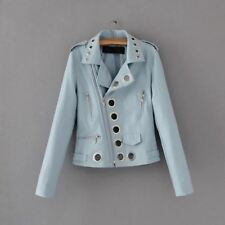 Women Black Leather Punk Style Hollow Out Motorcycle Short Pu Jacket