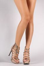Qupid Textured Patent Strappy Stiletto Platform Heel