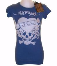 Women's Girl's Ed Hardy T shirt Love Kills Slowly New With Tags Crew Neck Blue