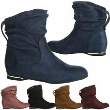 Daphne Womens Hidden Wedges Low Heels Ladies Slouch Style Ankle Boots Shoes Size