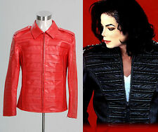 """Michael Jackson MJ """"Man in the Mirror"""" Pleather Red Jacket Costume Cosplay"""