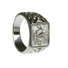 New Mens Solid Silver Irish Celtic Trinity Knot Claddagh Signet Ring Gift Boxed