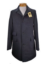 Billy Reid Astor Made in Italy Leather Trim Fully Lined Wool Overcoat