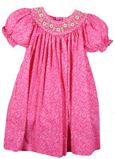 Girls Dress Pink Floral Smocked Float Spring Summer Petit Ami NWT 18m-6X