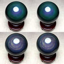 56mm NATURAL Unique rainbow OBSIDIAN POLISHED SPHERE BALL Distinctive+STAND