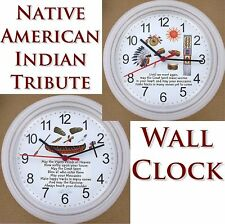 Native American Indian Tribute WALL CLOCK Feathers Great Spirit Moccasins Pipe