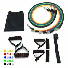 11P Resistance Band Set Yoga Pilates Abs Exercise Fitness Tube Workout Bands OE