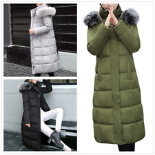Womens Winter Warm Duck Down Coat Jacket Long Parka Outwear with Faux Fur Collar