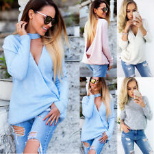 New Fashion Womens Backless Long Sleeve Shirt Casual Blouse Tops Shirt Clothing
