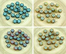30pcs Picasso Mix Turquoise Wash Patina Czech Glass Coin Flower Beads 8mm