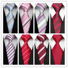 Pink Red Blue Purple Man's Jacquard Woven Classic Striped Bow Tie Necktie